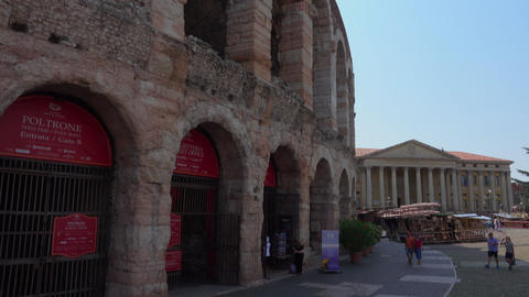 The front of famous Arena of Verona - open air theatre Live Action