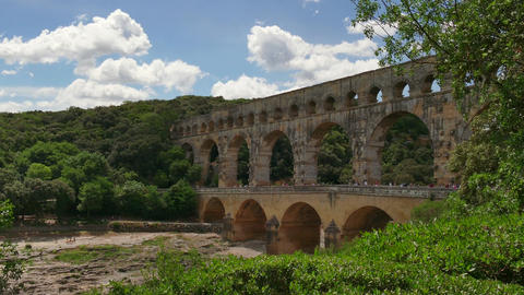 Landmark Tourist Attraction Monument Pont Du Gard In Southern France Footage
