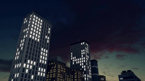 Abstract lighted high rise buildings at night time lapse Footage