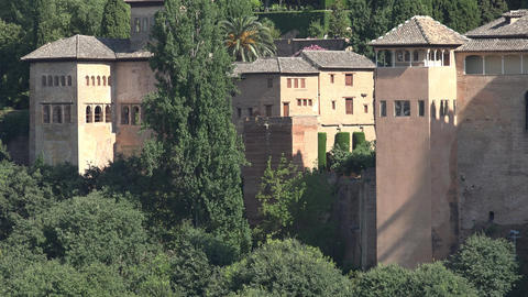 Alhambra Castle Towers In Spain Footage