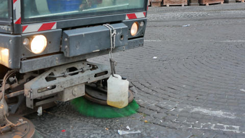 Vehicle cleaning the road in Naples - Closeup Footage