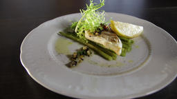 Grilled zander fillet with asparagus and lemon.White plate Live Action