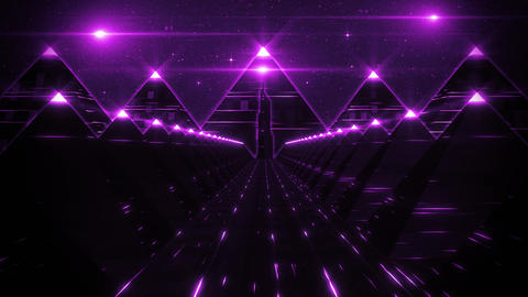 3D Purple Sci-Fi Pyramids Tunnel Loop Motion Background Animation