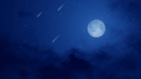 Night sky with full moon and falling stars or meteors Live Action
