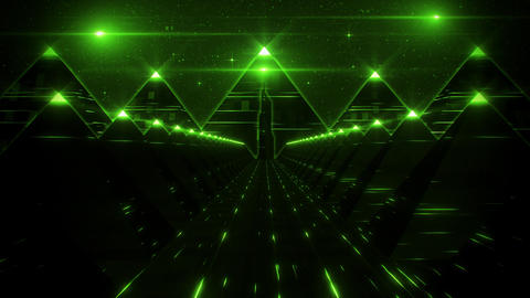 3D Green Sci-Fi Pyramids Tunnel Loop Motion Background Animation