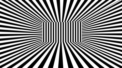 Abstract 3D background with black and white stripes. Seamless loop Animation