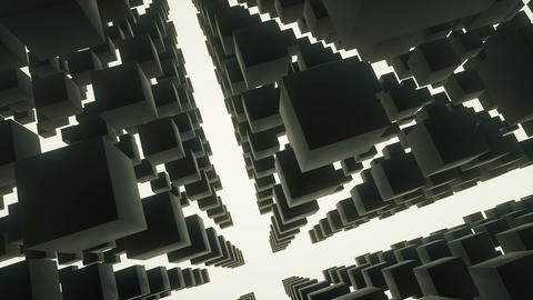 Camera rotating in a 3d black reflective cubes structure on a white background Videos animados