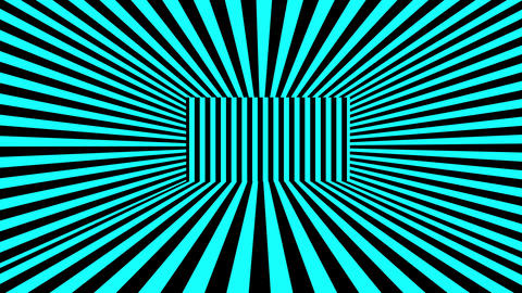 Abstract 3D background with turquoise and black stripes. Seamless loop Animation