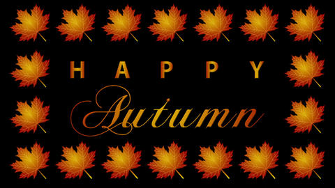 Autumn Greeting Looping Video Animation with maple leaves Animation