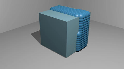 animation of particle motion on a cubic object, 3d movie, blue elements on light Animation