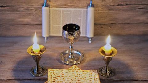 Eve passover holiday matzoth celebration matzoh jewish passover bread torah Footage