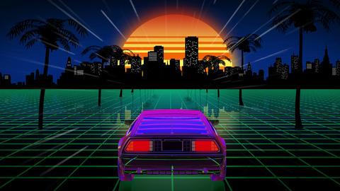 Bright retro futuristic world Animation