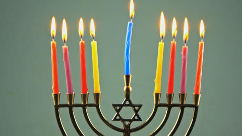 Jewish Holiday Hanukkah menorah background with the man background Live Action