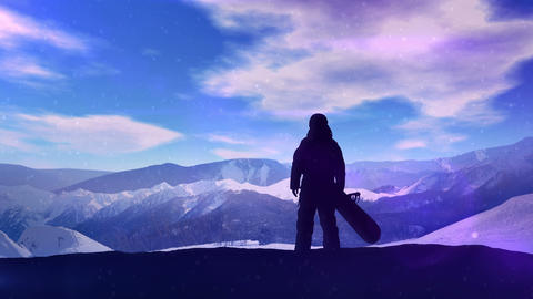 Dark silhouette of a snowboarder on a background of snowy mountains Animation