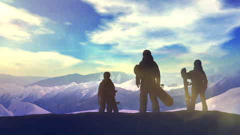 Family of snowboarders on top of the mountain CG動画