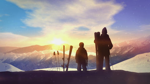 Family skiers on top of the mountain CG動画