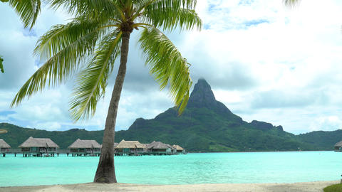 Bora Bora Tropical vacation paradise island overwater bungalows hotel resort Footage