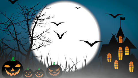 Halloween colourful theme animation background, with scary moving trees and hovering bats on moon Animation