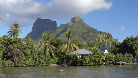 French Polynesia Bora Bora and Mount Otemanu in Tahiti Live Action