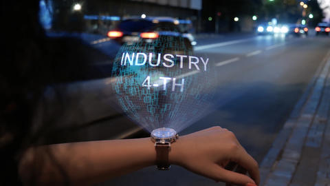 Unrecognizable woman with hologram Industry 4-th Footage