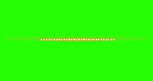 multiple light bulbs in horizontal position like lights stage on chroma key green Footage