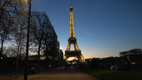 People Enjoy the night under the Eiffel Tower Live Action