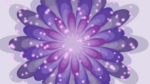 Fantasy flower head with blurry particle lights, purple flower close-up, theme Animation