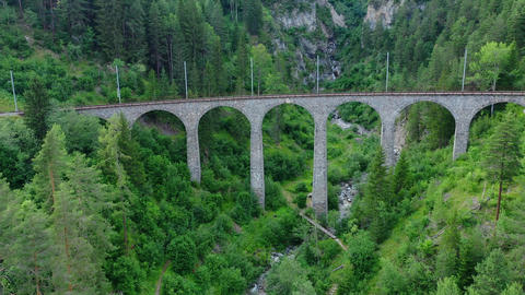 Famous Viaduct in Switzerland at the village of Filisur Footage