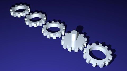 Metallic gears rotatig in diagonal area on dark blue background. Technology Animation