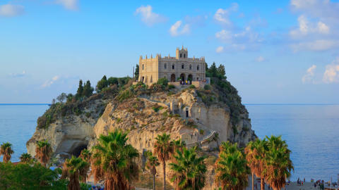 Tropea, Italy. Evening timelapse with view on rock mountain with the Sanctuary of Santa Maria GIF