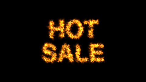 HOT SALE FIRE TEXT on alpha channel background Animation