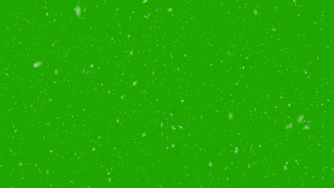 Isolated Snow Falls from left to right Loop Greenscreen Animation