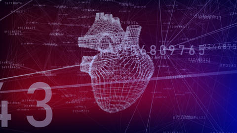 A human hearts in low-poly concept Animation