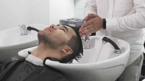 portrait asian man at the hairdresser Live Action