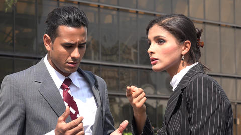 Confused Business Man Deaf Woman Using Sign Language Live Action
