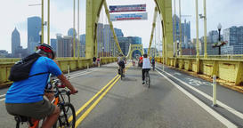 People Use the Roberto Clemente Bridge During Open Streets Pittsburgh Footage