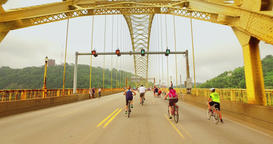 Bikers and Walkers Enjoy Time on the West End Bridge for Open Streets Pittsburgh Footage