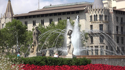 Statues Water Fountain And Spanish Architecture Of Barcelona Live Action