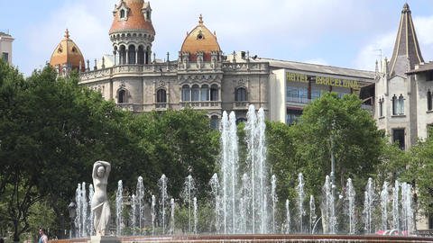 Water Fountain And Spanish Architecture Of Barcelona Live Action