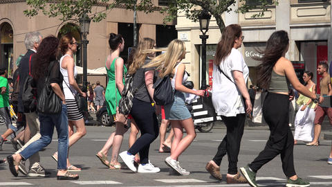 Pedestrians On Crowded Street, Live Action