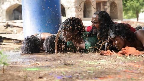 People Falls in Mud water Footage
