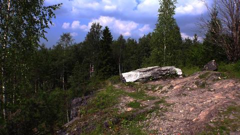 Sleeping Angel Sculpture. Marble Canyon. Ruskeala, Karelia. 4K Footage