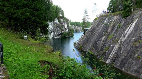 Landscape Marble Canyon. Ruskeala. Karelia. 4K Footage
