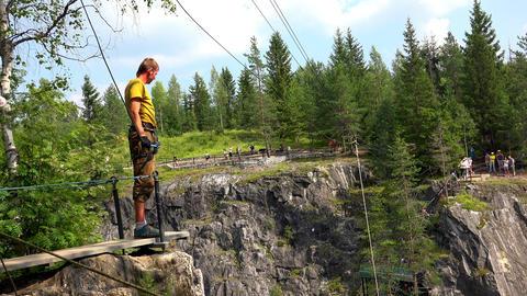Bungee jump. 4K Footage