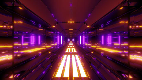 futuristic glowing scifi data tunnel corridor with nice reflections 3d rendering Animation