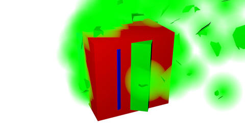 RGB color space, three cubes in red, green and blue, motion and breakup of Animation
