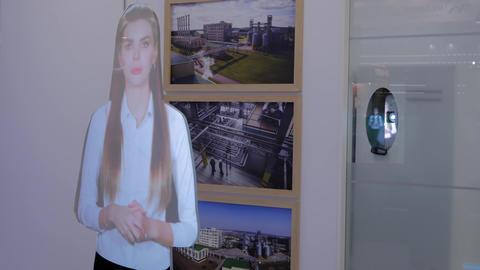 Interactive virtual promoter hologram mannequin: advanced digital display Live Action