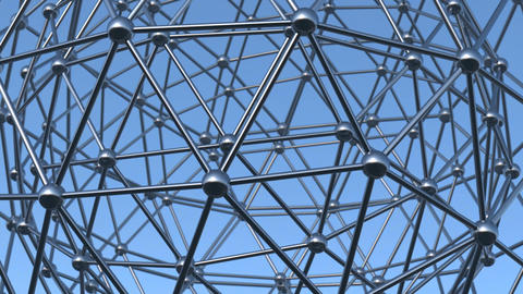 Rotating metal 3d structure on a blue background Animation