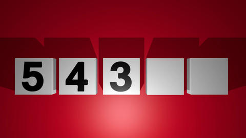 Countdown from five to one, moving cubes with numbers, gray cubes on red Animation