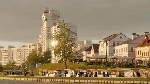 Nemiga district in cityscape of Minsk, Belarus on summer season, sunset time Footage